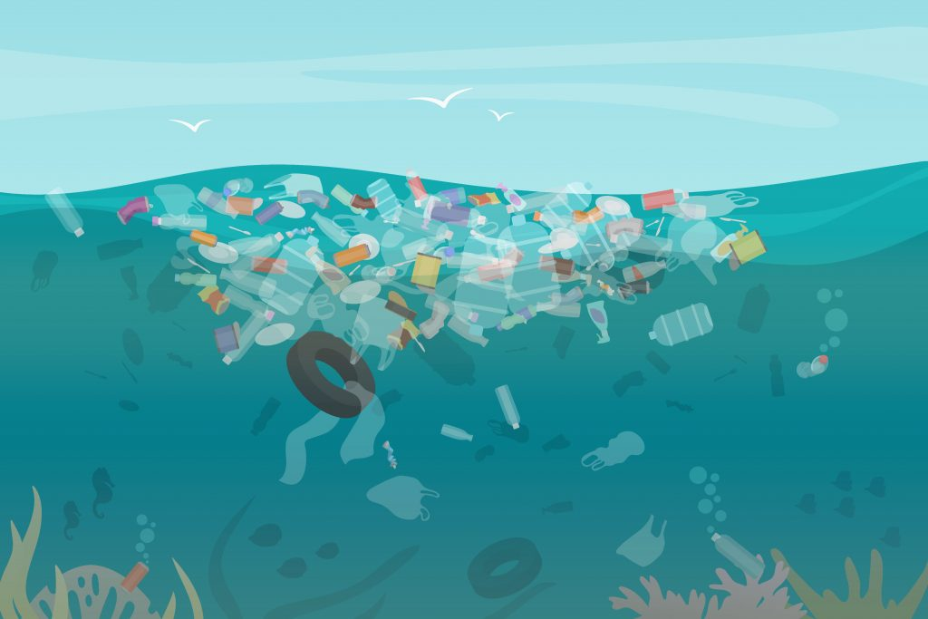 Plastic pollution trash underwater sea with different kinds of garbage - plastic bottles, bags, wastes floating in water. Sea ocean water pollution concept vector illustration.
